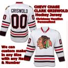 Chevy Chase Christmas Vacation Clark Griswold NHL Blackhawks White Hockey Jersey